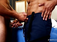 Daniel sucked as vigorously as he could. Bobbing his head up and down, back and forth as his mouth worked on the Doctor`s hard dick. After a good bit of this, Doctor Flexxx turned around and bent over the examination table so Daniel could lick his ass. Wh