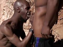 Bald bottom boy Black Rod takes fat tube steak up his ass real good in this outdoor fuck encounter.
