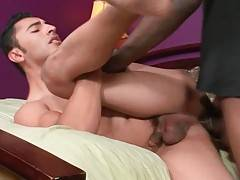 Naughty ebony fellow greatly enjoys deep anal massage.