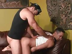 Tough ebony dude thoroughly drills friend`s eager asshole.