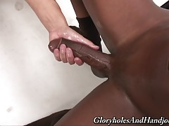 At a footlong I knew my hands could get tired playing with his big black dick as I stroked my throbbing white dick.