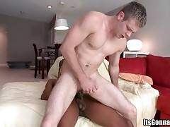 Toned white guy gets his tight butt hole stretched with fat black dong.